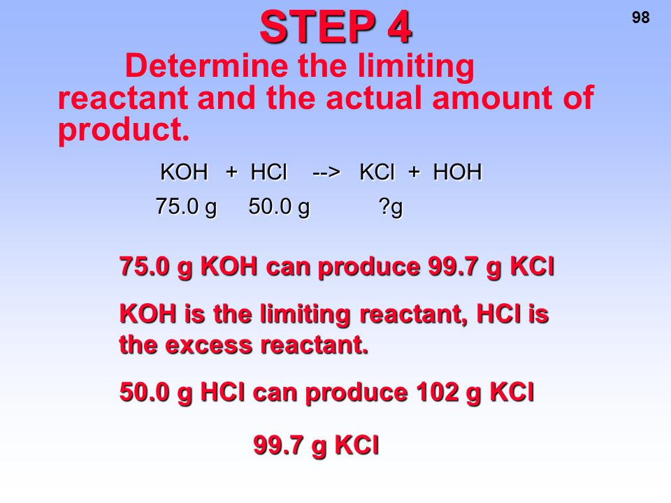 STEP 4 75.0 g KOH can produce 99.7 g KCl
