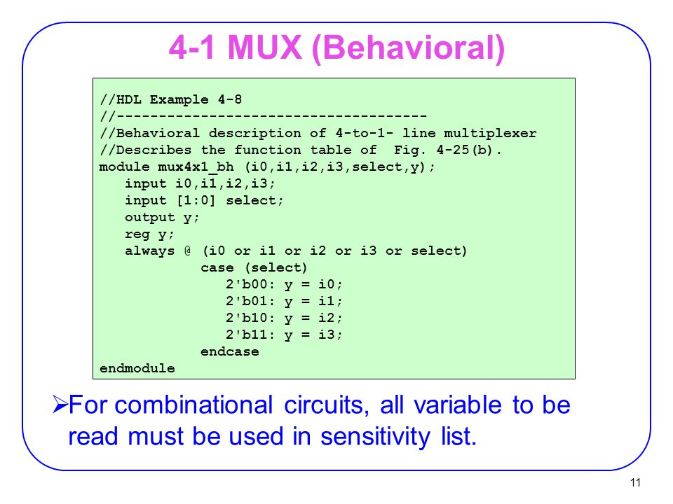 4-1 MUX (Behavioral) //HDL Example 4-8. //------------------------------------- //Behavioral description of 4-to-1- line multiplexer.