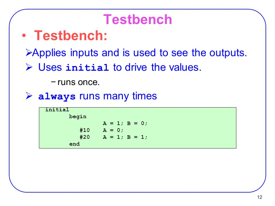 Testbench Testbench: Applies inputs and is used to see the outputs.