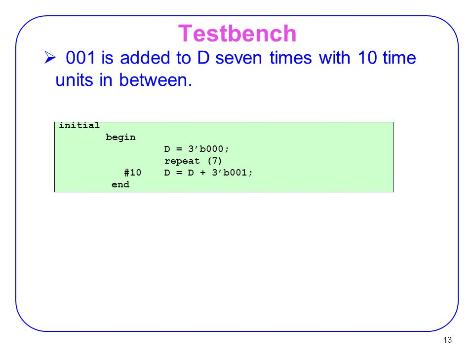 Testbench 001 is added to D seven times with 10 time units in between.