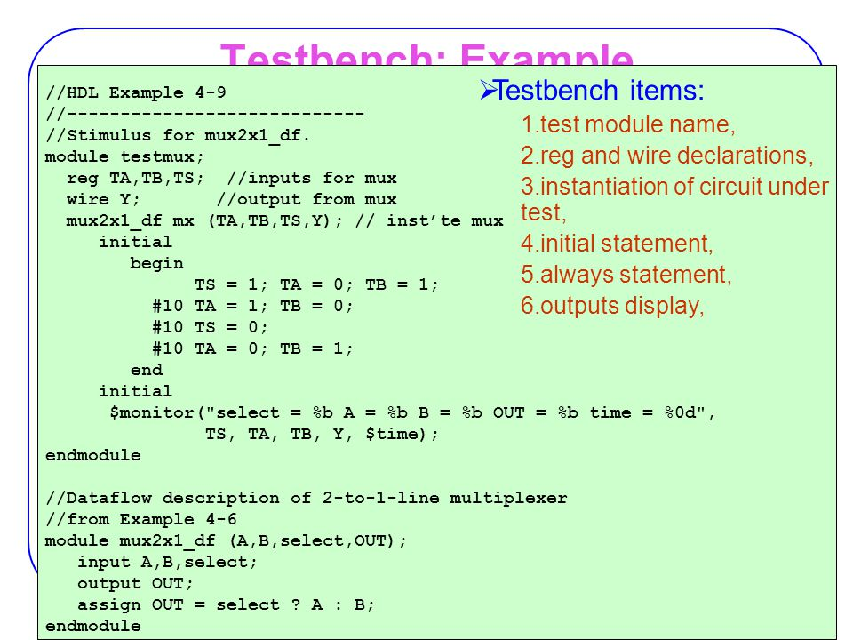 Testbench: Example Testbench items: test module name,