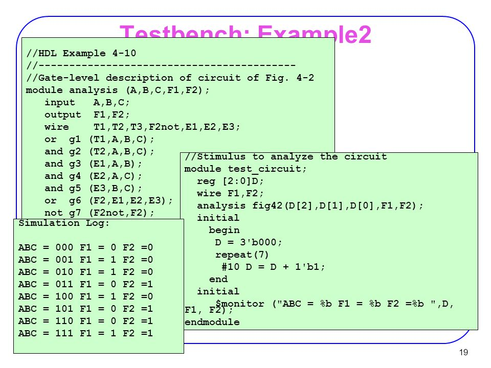 Testbench: Example2 //HDL Example 4-10