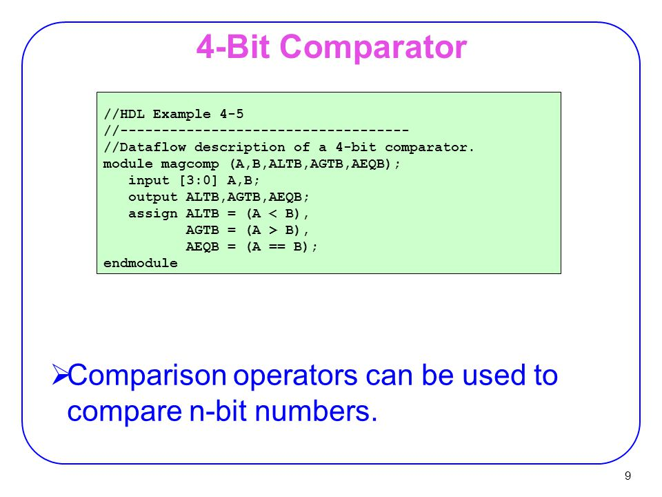 4-Bit Comparator //HDL Example 4-5. //----------------------------------- //Dataflow description of a 4-bit comparator.