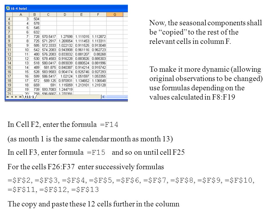 Now, the seasonal components shall be copied to the rest of the relevant cells in column F.
