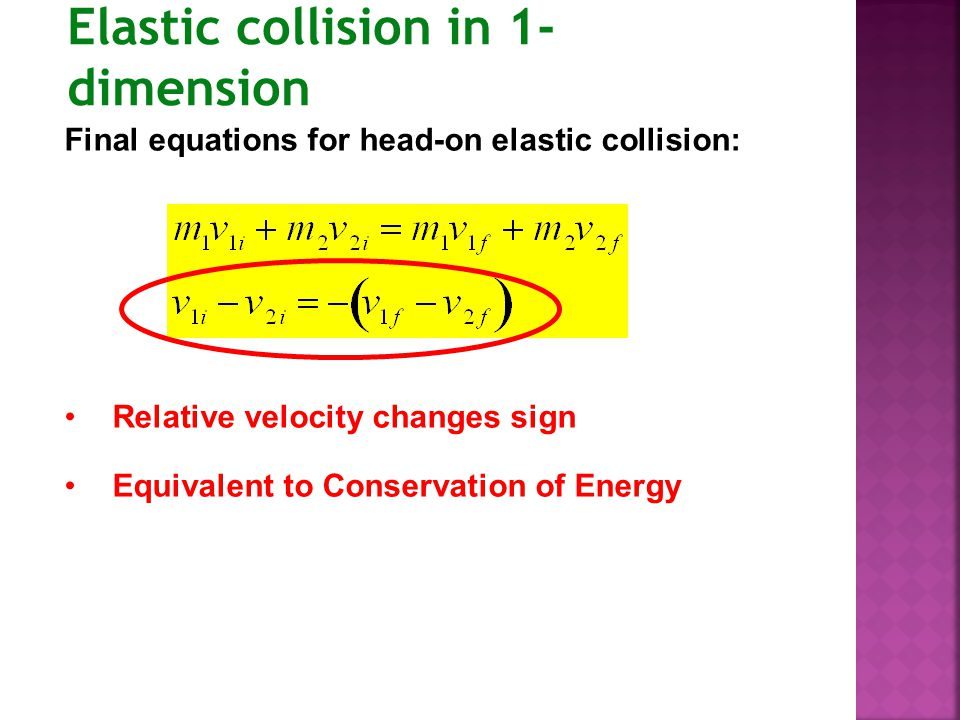 Elastic collision in 1-dimension