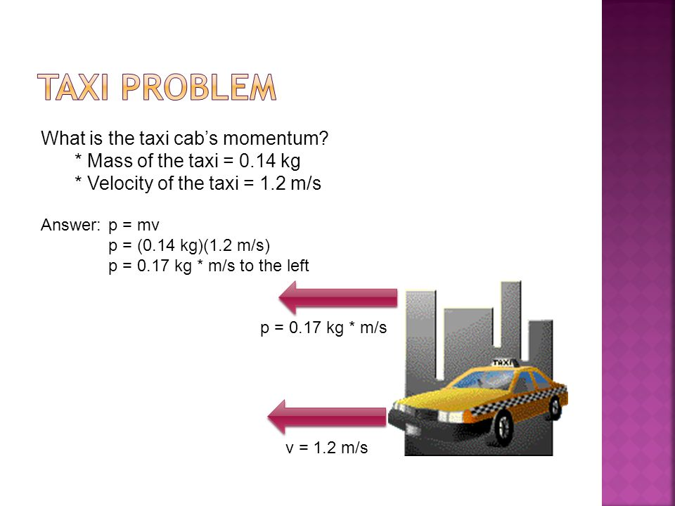 TAXI PROBLEM What is the taxi cab's momentum