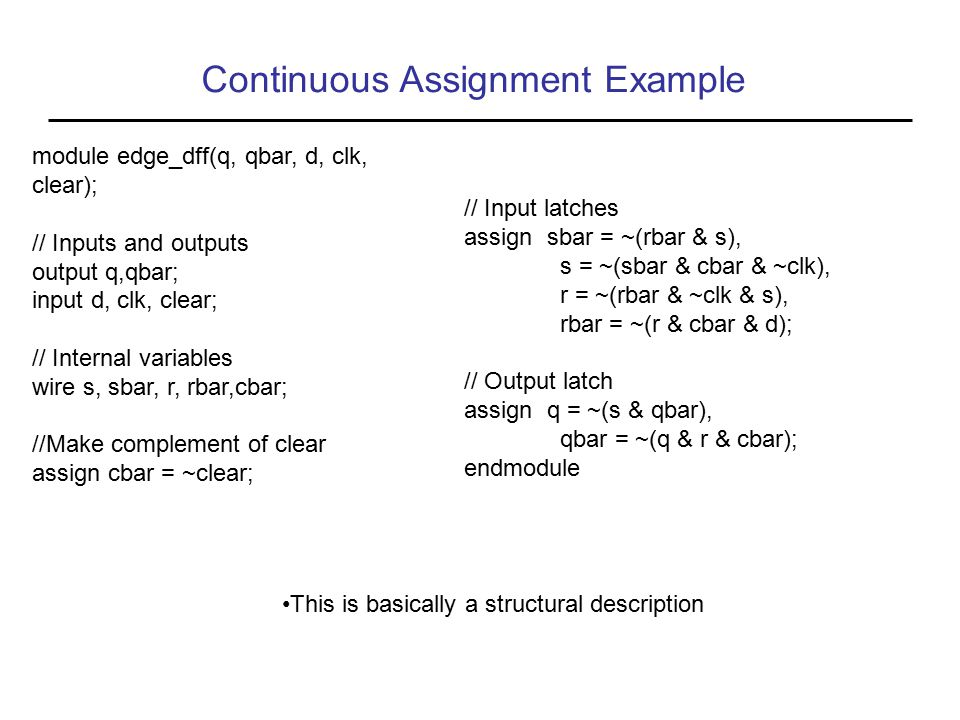 Continuous Assignment Example