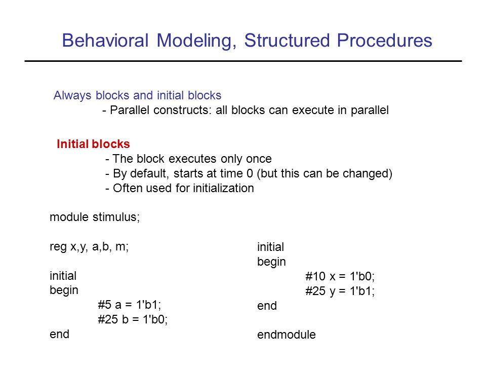 Behavioral Modeling, Structured Procedures