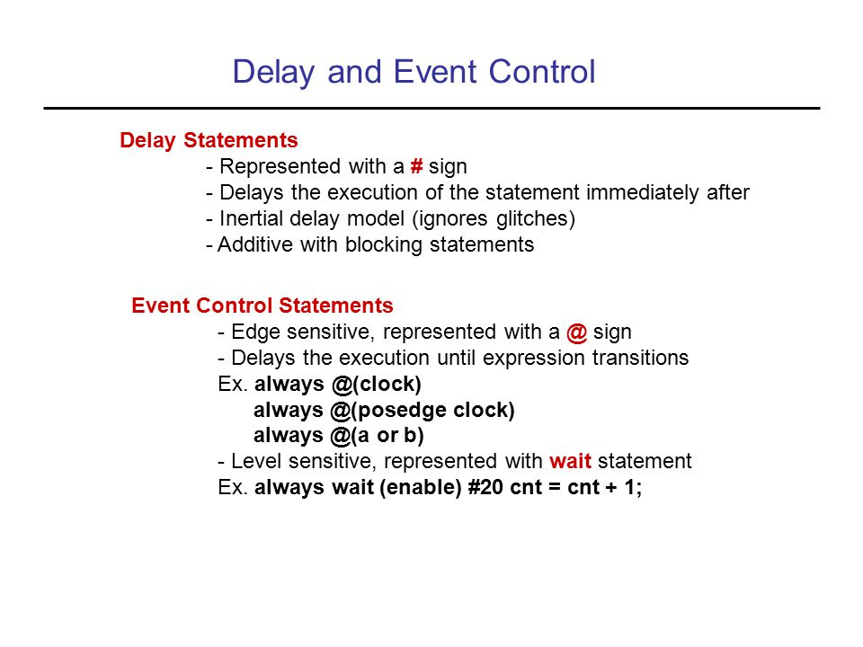 Delay and Event Control