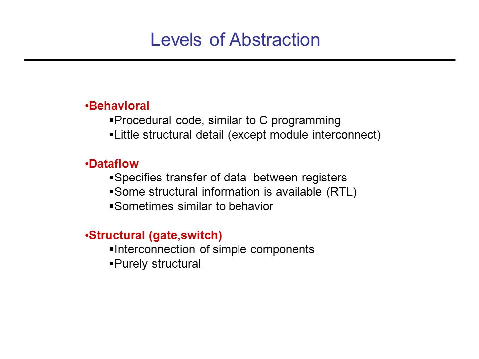 Levels of Abstraction Behavioral