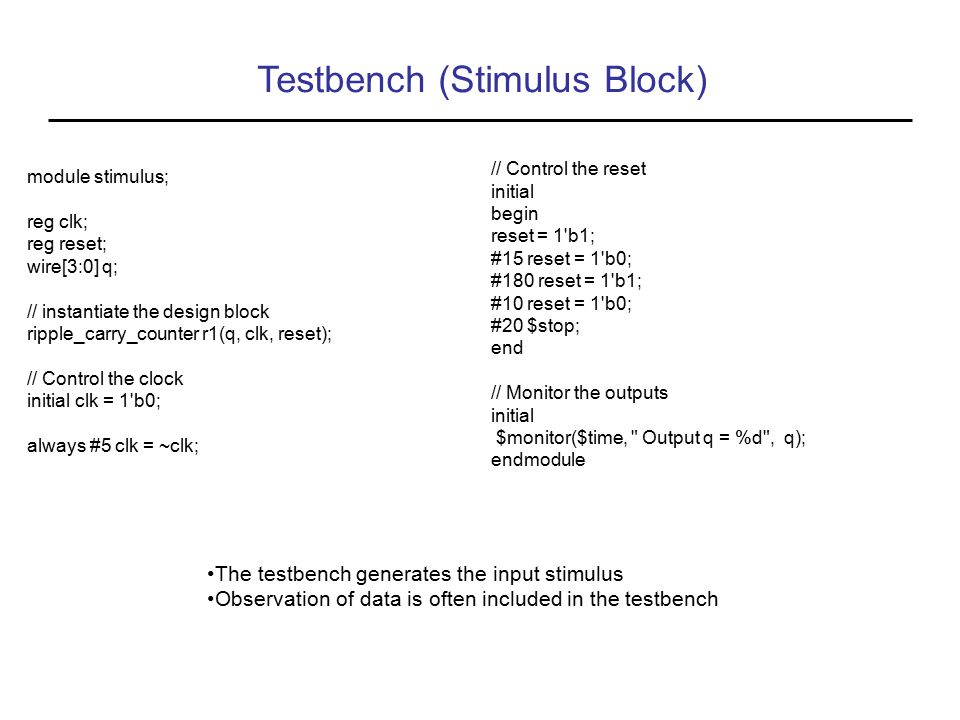 Testbench (Stimulus Block)