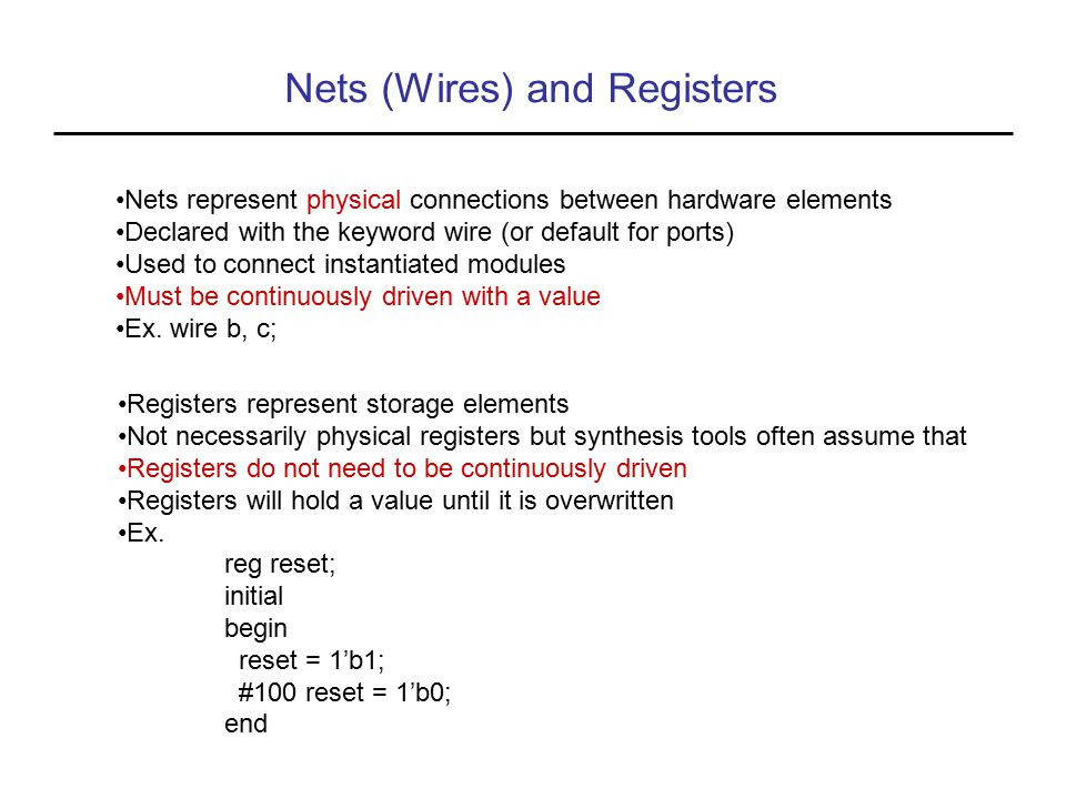 Nets (Wires) and Registers