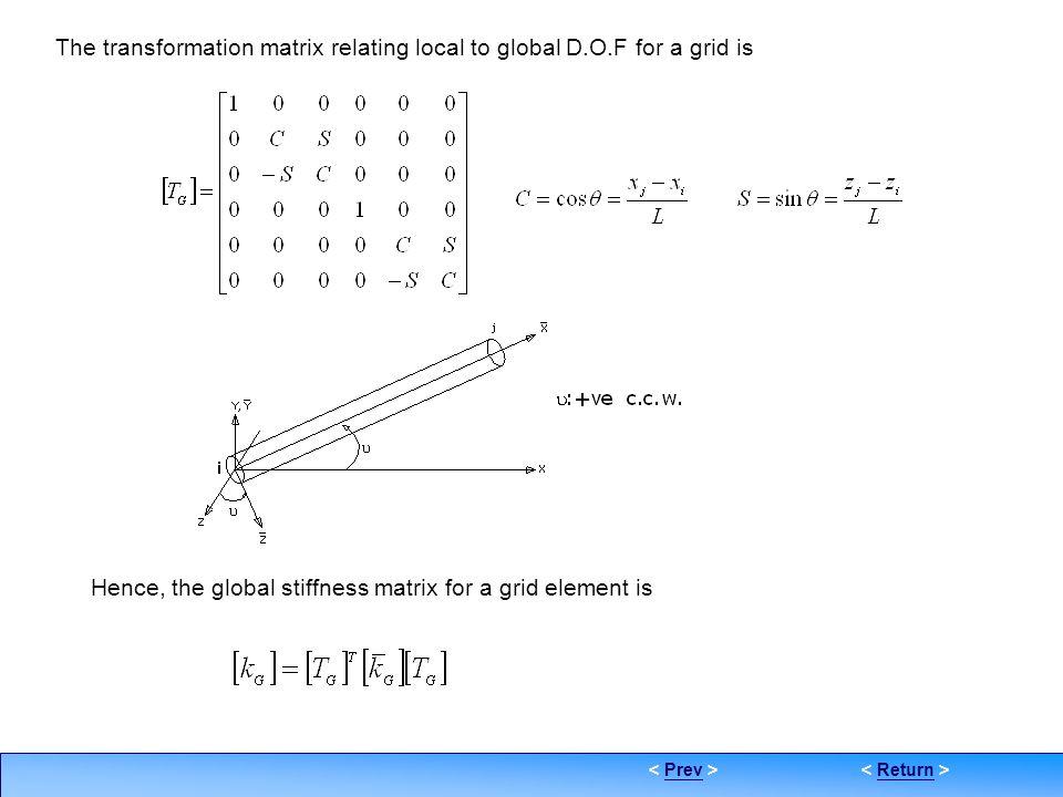 The transformation matrix relating local to global D.O.F for a grid is