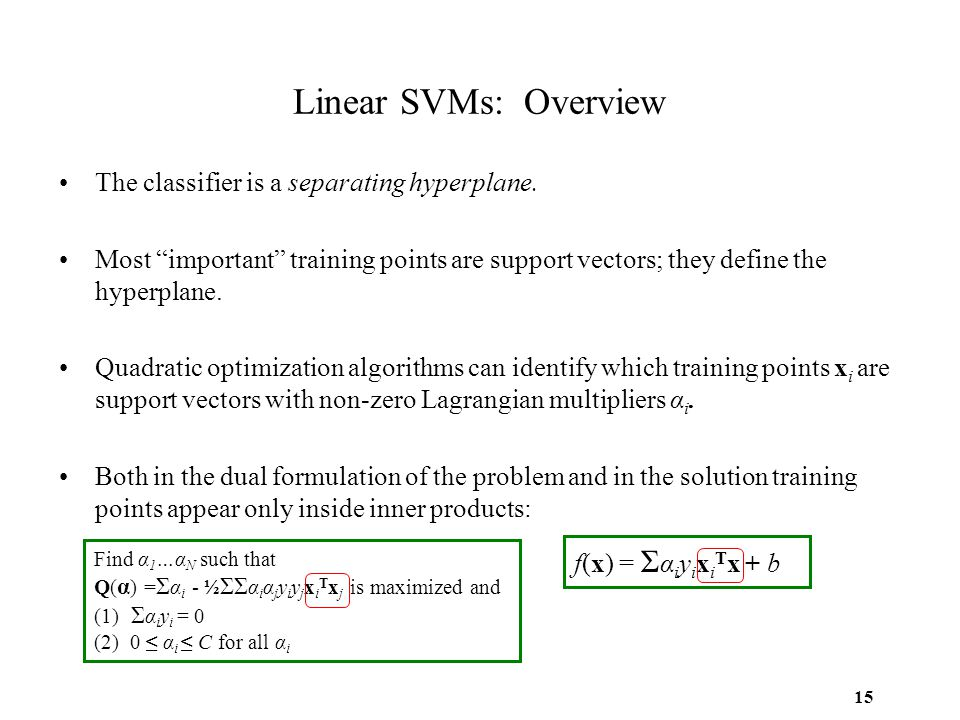 Linear SVMs: Overview The classifier is a separating hyperplane.