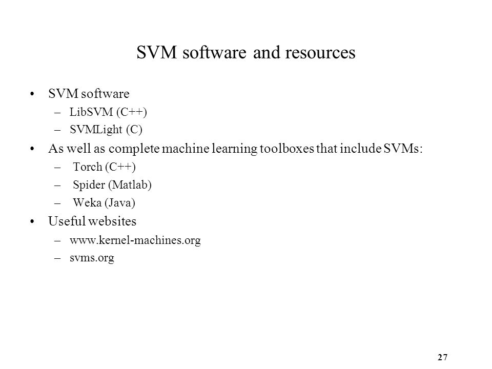 SVM software and resources