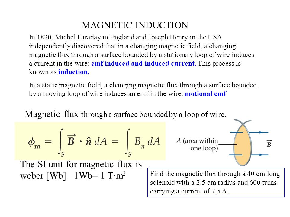 Magnetic flux through a surface bounded by a loop of wire.