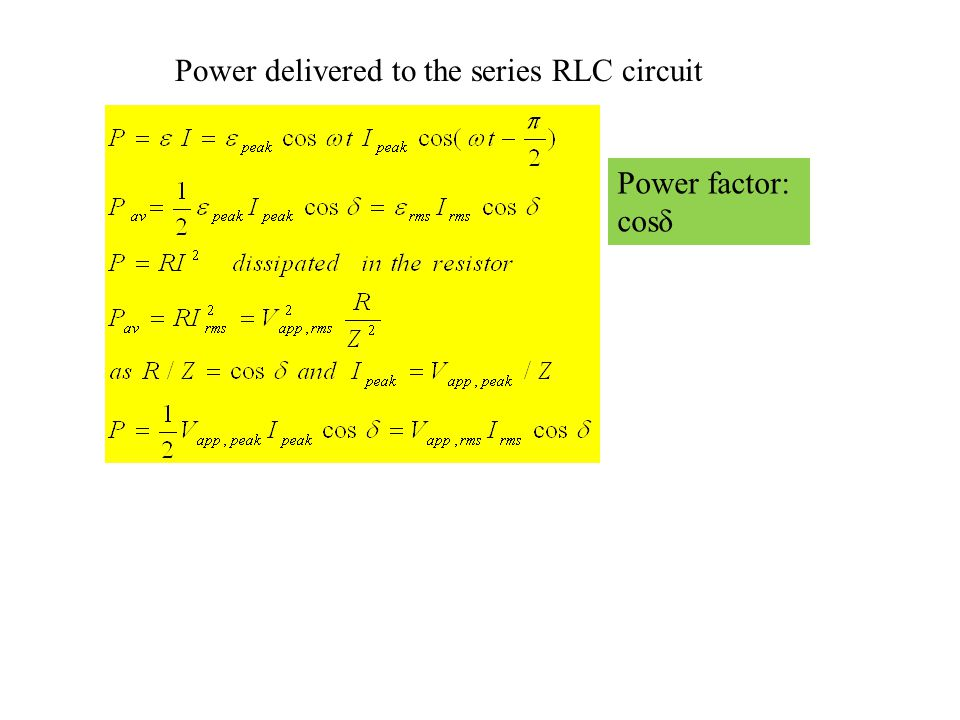 Power delivered to the series RLC circuit
