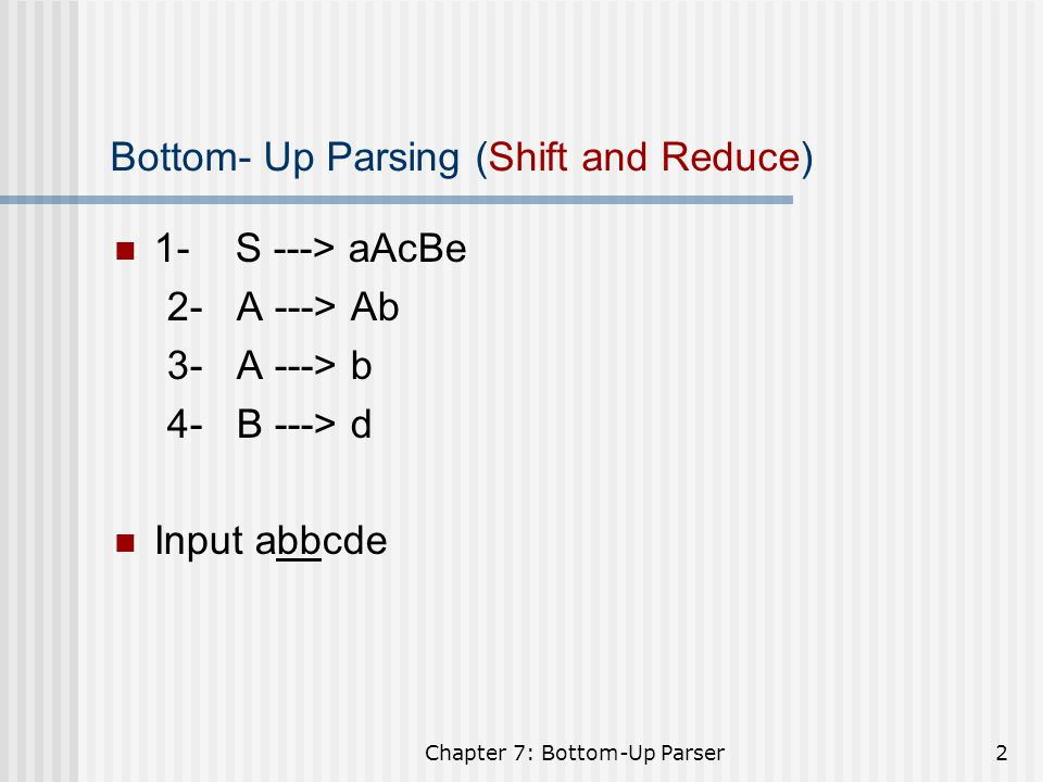 Bottom- Up Parsing (Shift and Reduce)