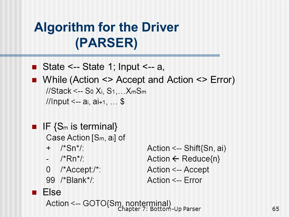 Algorithm for the Driver (PARSER)