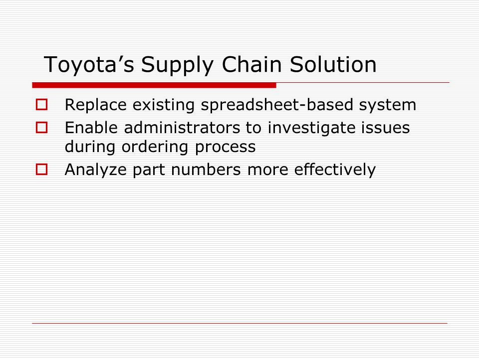 Toyota's Supply Chain Solution