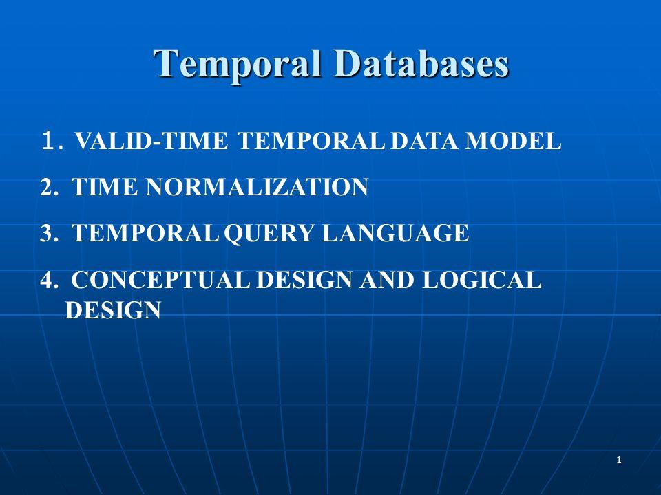 Temporal Databases VALID-TIME TEMPORAL DATA MODEL TIME NORMALIZATION