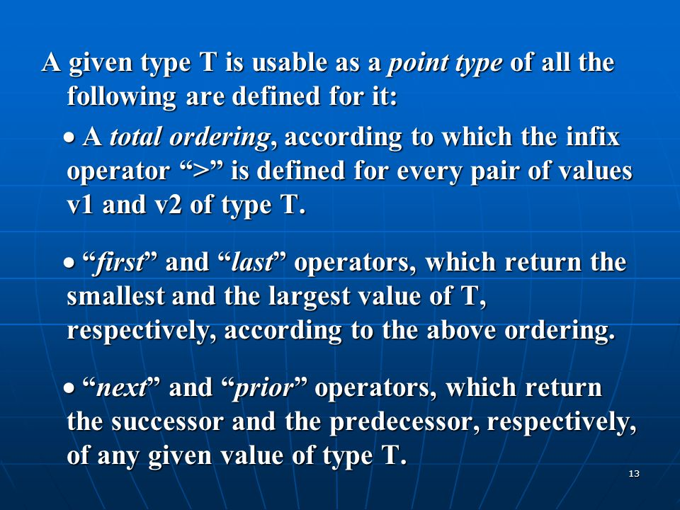 A given type T is usable as a point type of all the following are defined for it: