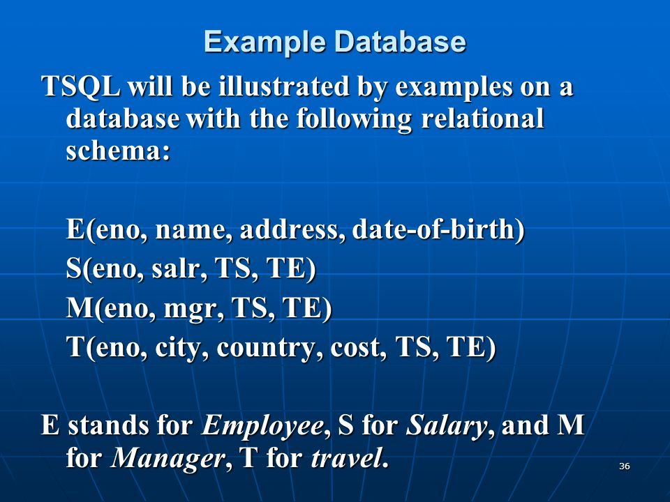 Example Database TSQL will be illustrated by examples on a database with the following relational schema: