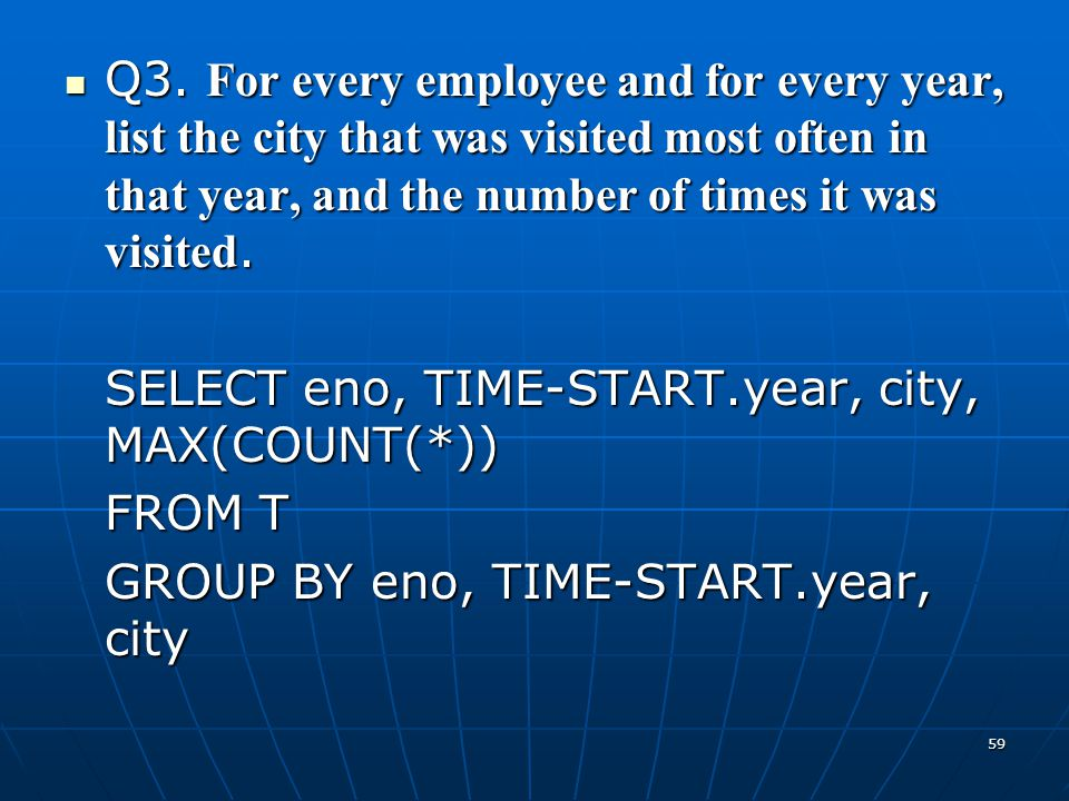 Q3. For every employee and for every year, list the city that was visited most often in that year, and the number of times it was visited.