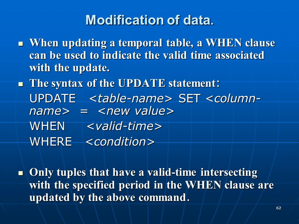 Modification of data. When updating a temporal table, a WHEN clause can be used to indicate the valid time associated with the update.