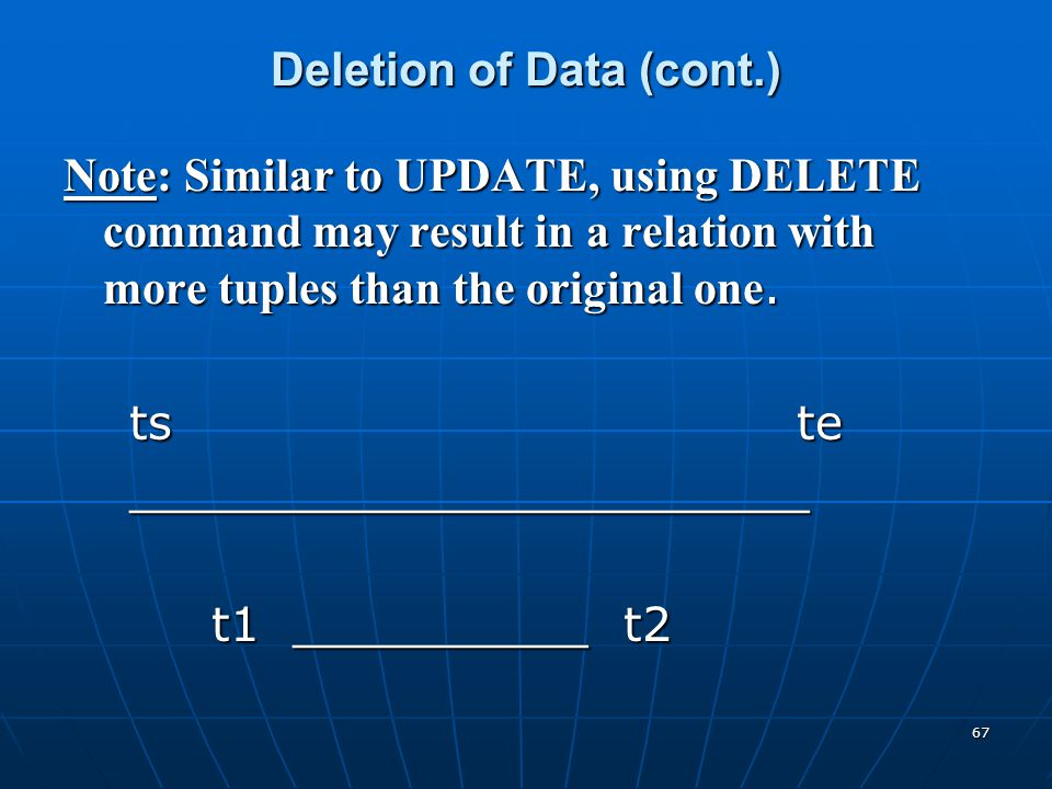 Deletion of Data (cont.)