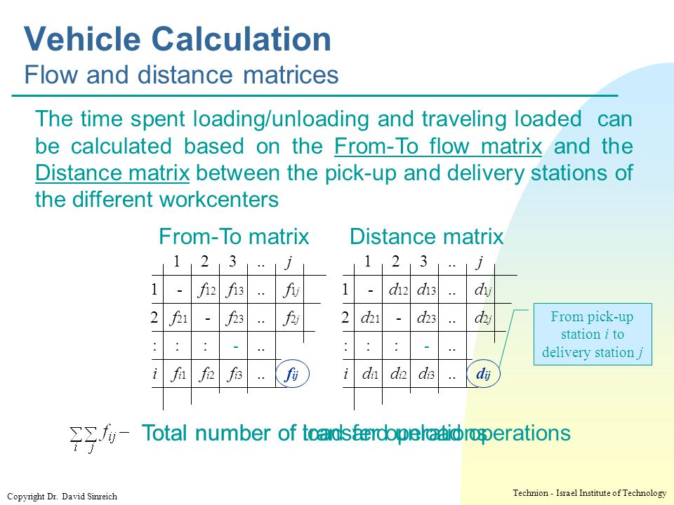 Vehicle Calculation Flow and distance matrices