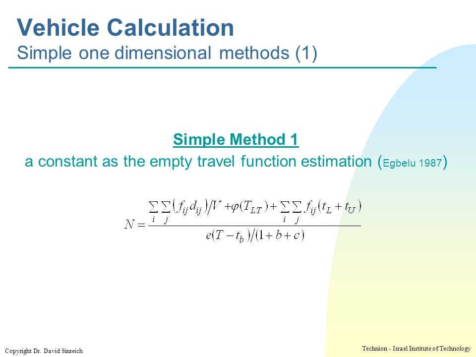 Vehicle Calculation Simple one dimensional methods (1)