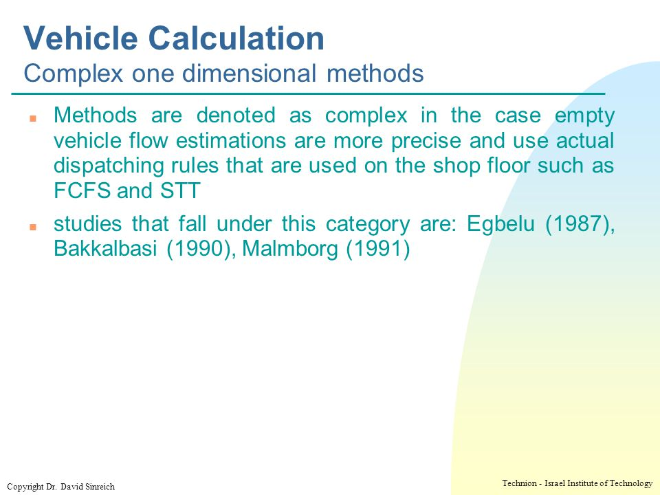 Vehicle Calculation Complex one dimensional methods