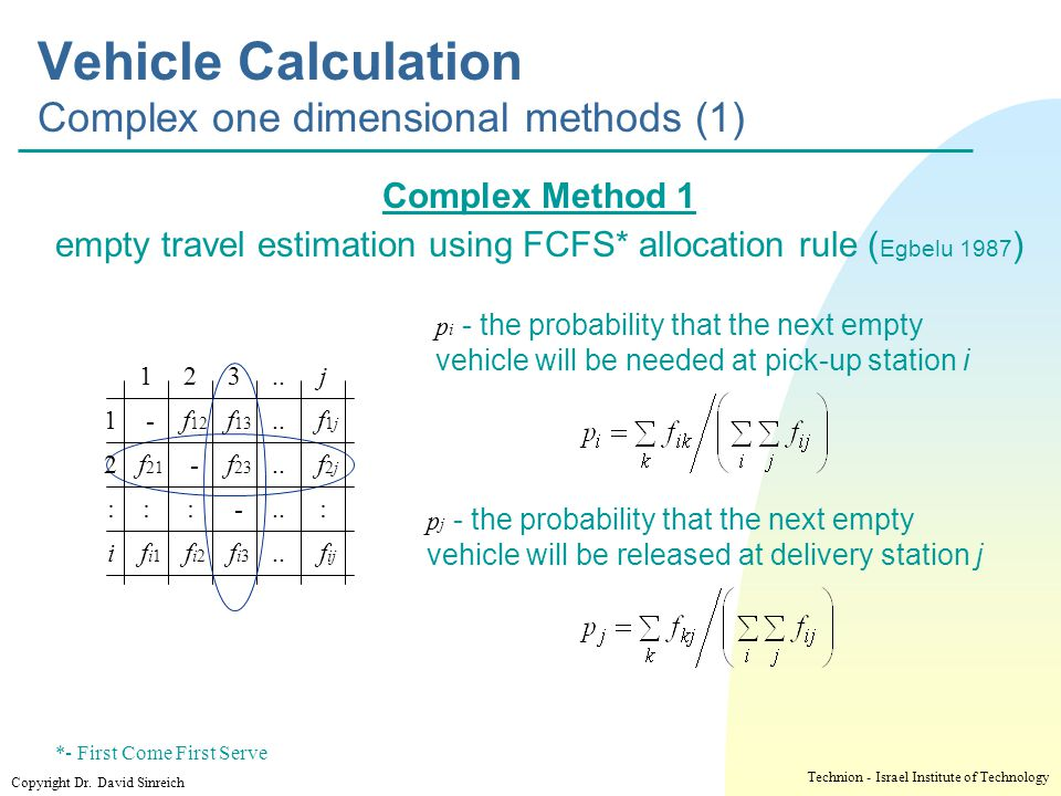 Vehicle Calculation Complex one dimensional methods (1)