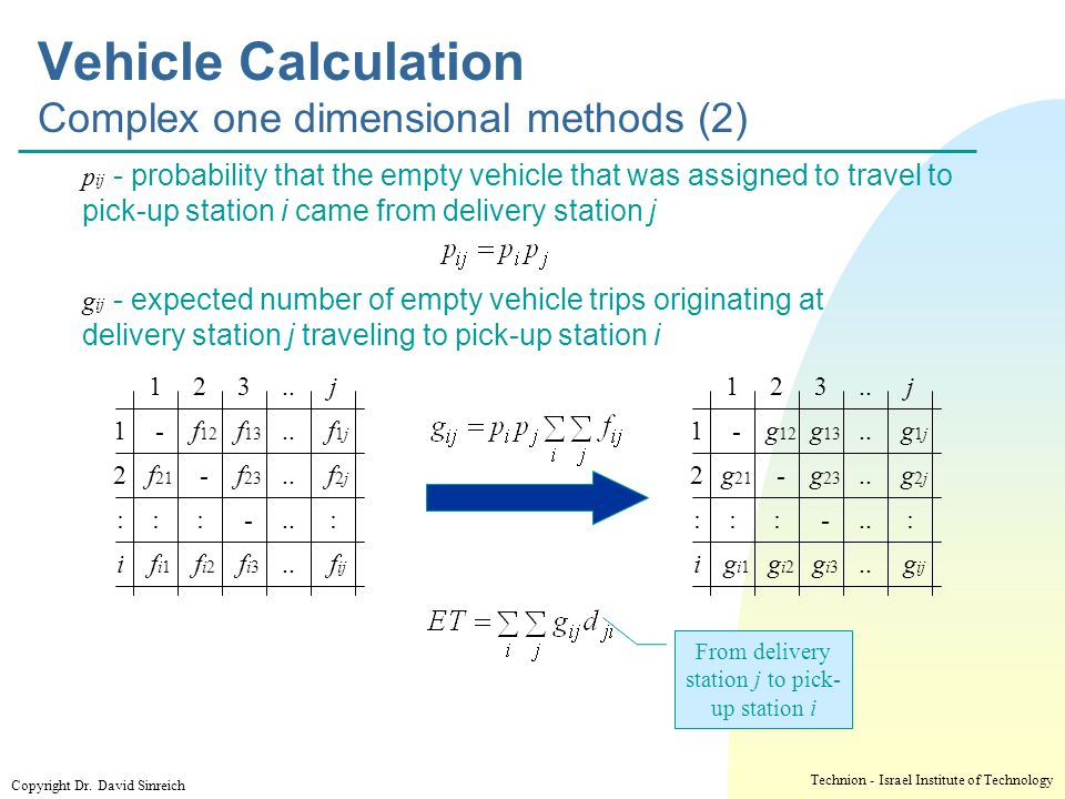 Vehicle Calculation Complex one dimensional methods (2)