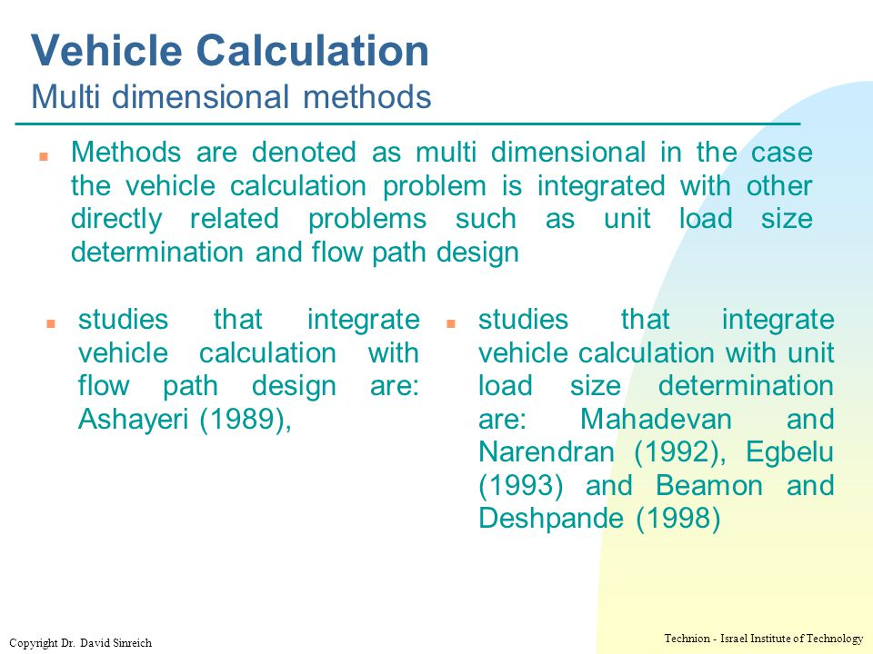 Vehicle Calculation Multi dimensional methods