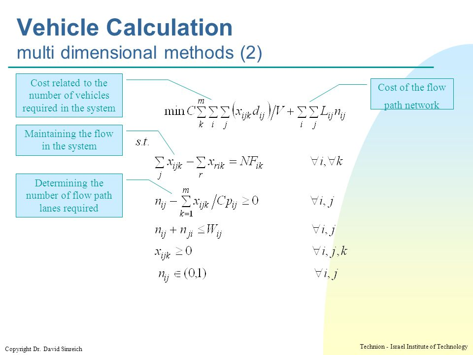 Vehicle Calculation multi dimensional methods (2)
