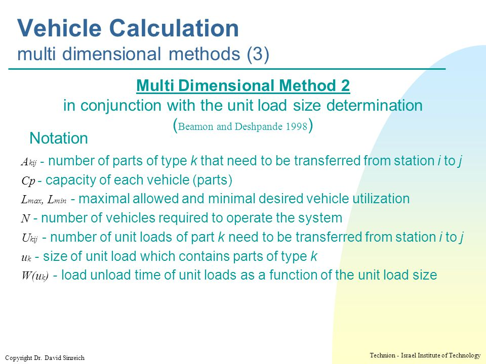 Vehicle Calculation multi dimensional methods (3)