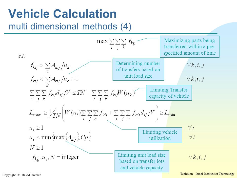Vehicle Calculation multi dimensional methods (4)