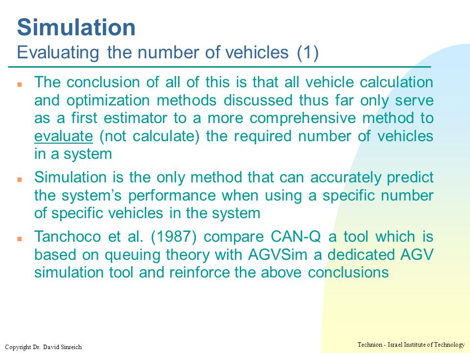 Simulation Evaluating the number of vehicles (1)