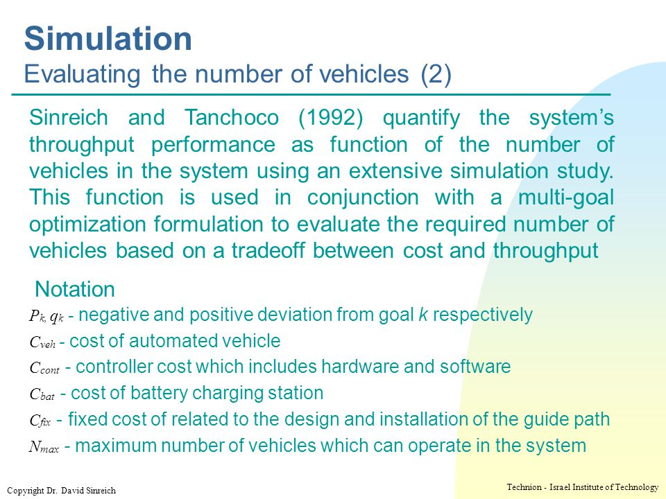 Simulation Evaluating the number of vehicles (2)