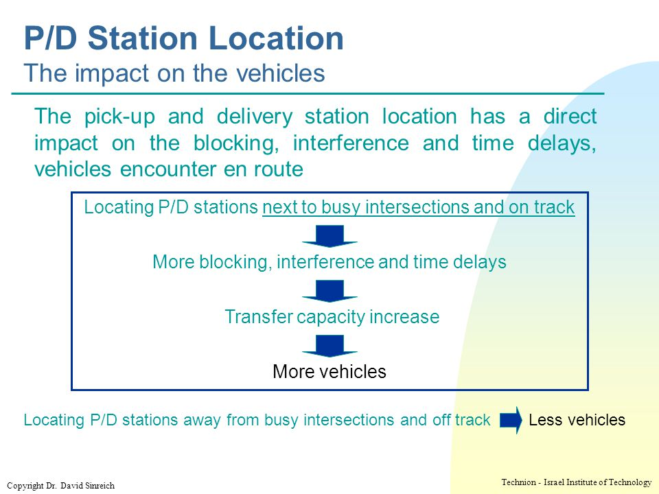 P/D Station Location The impact on the vehicles