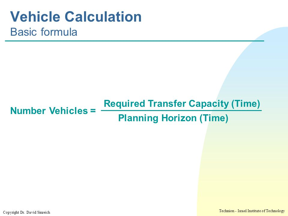 Vehicle Calculation Basic formula