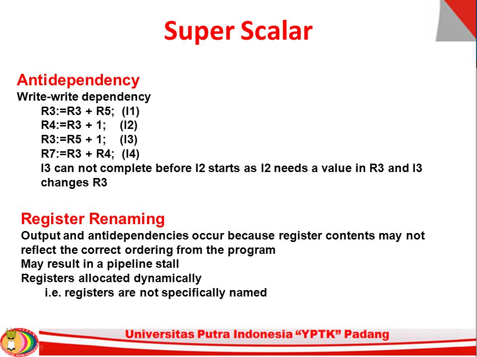 Super Scalar Antidependency Register Renaming Write-write dependency