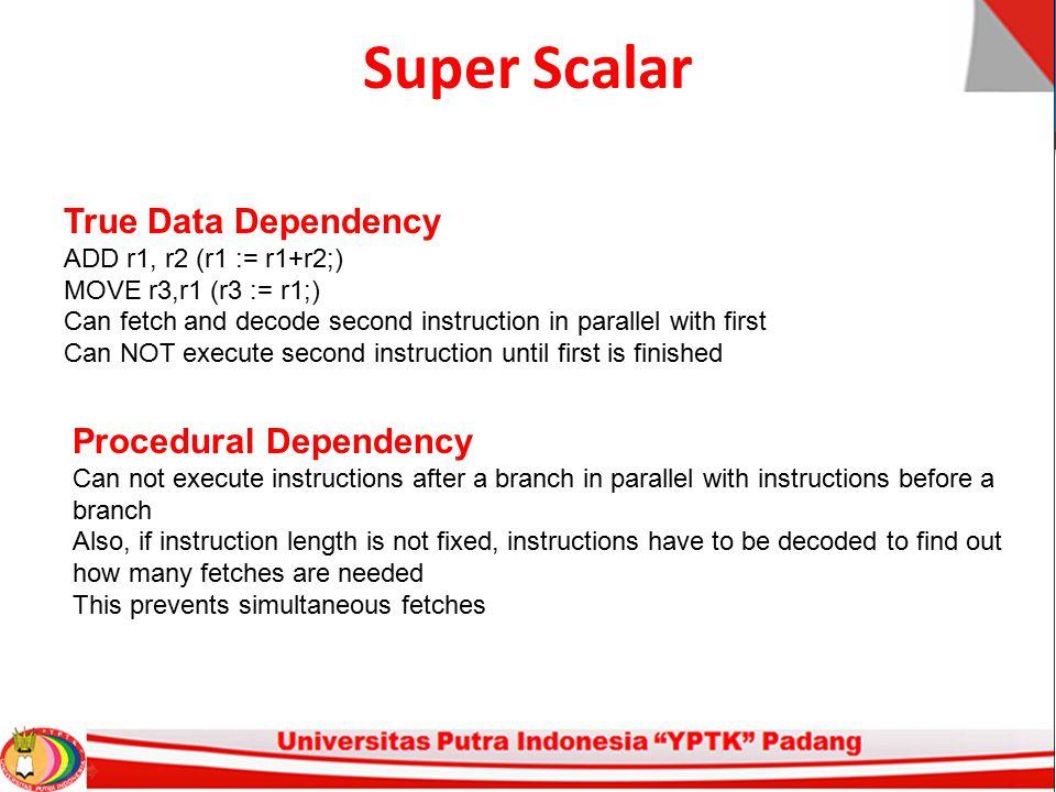 Super Scalar True Data Dependency Procedural Dependency