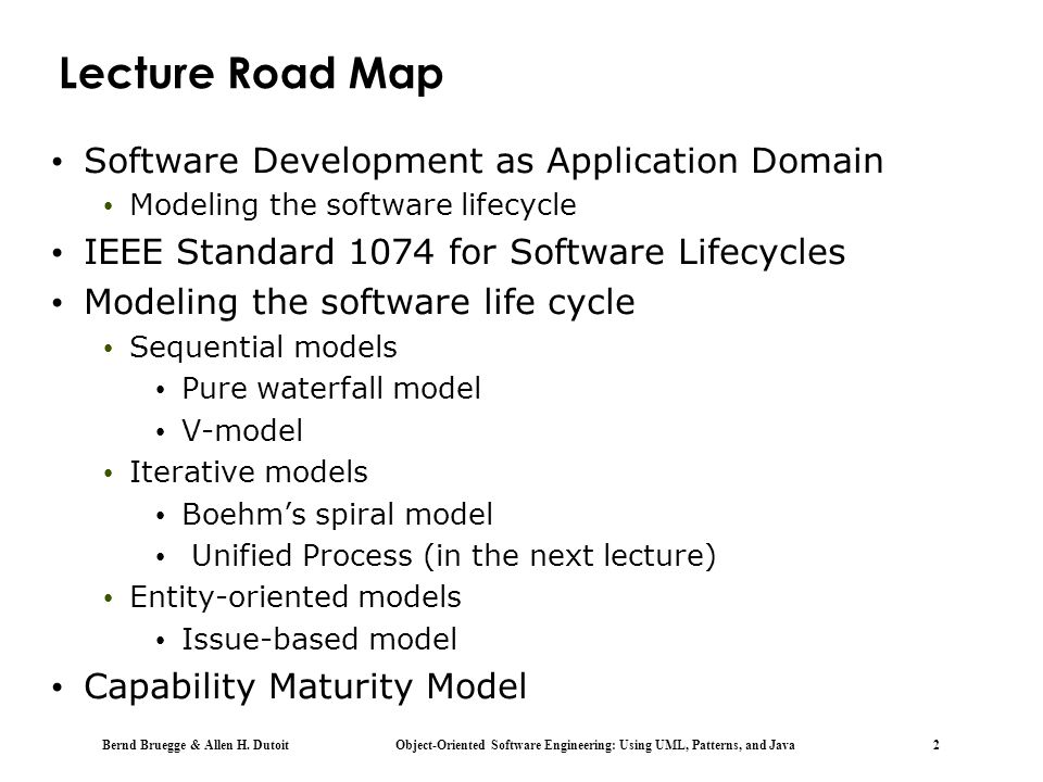 Lecture Road Map Software Development as Application Domain