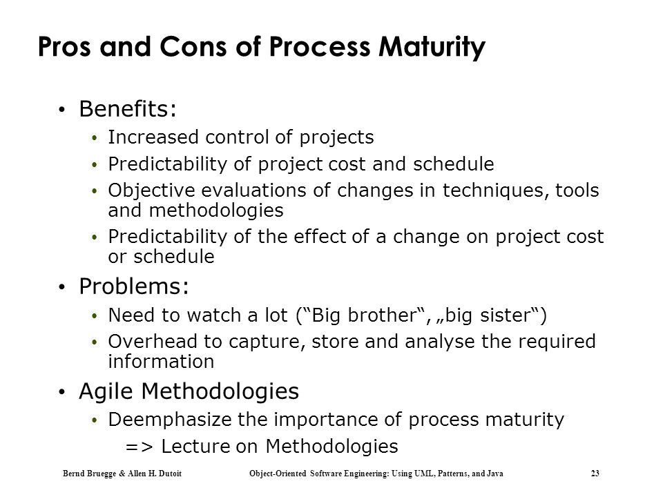 Pros and Cons of Process Maturity