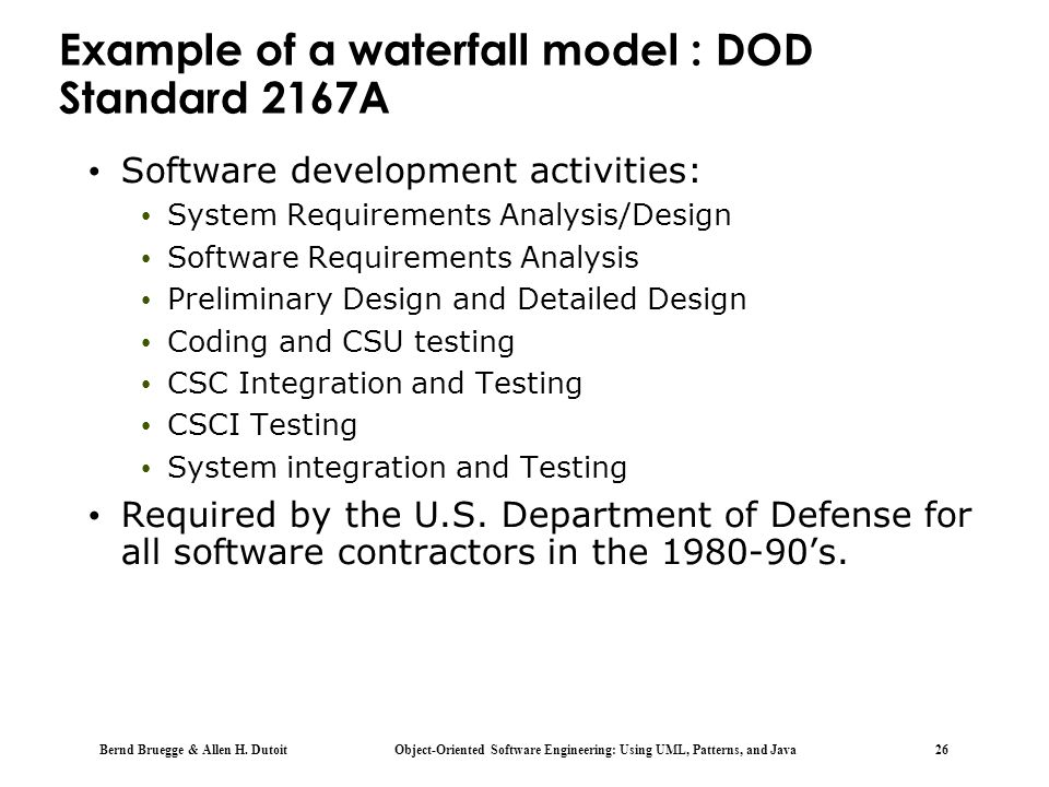 Example of a waterfall model : DOD Standard 2167A