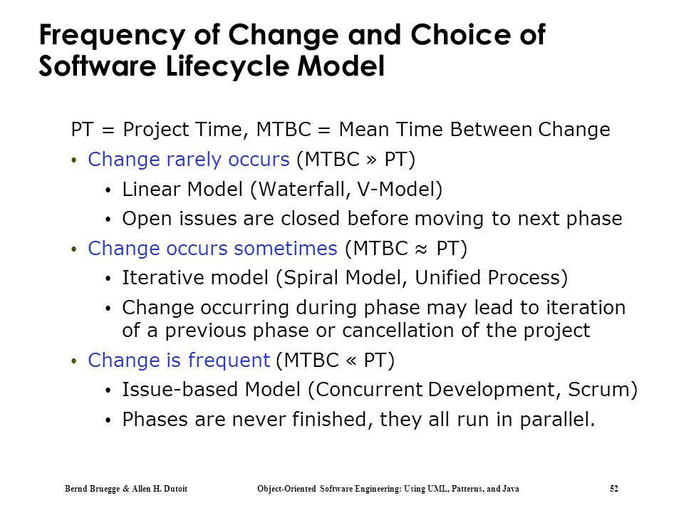 Frequency of Change and Choice of Software Lifecycle Model