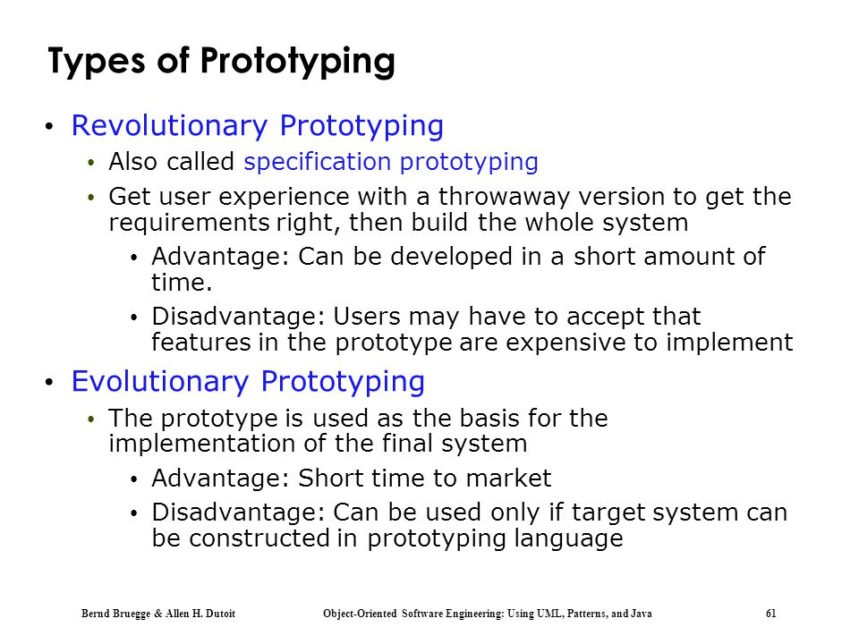 Types of Prototyping Revolutionary Prototyping